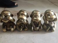 Family decoration office decoration four cute little monkey brass statues decoration metal handicraft