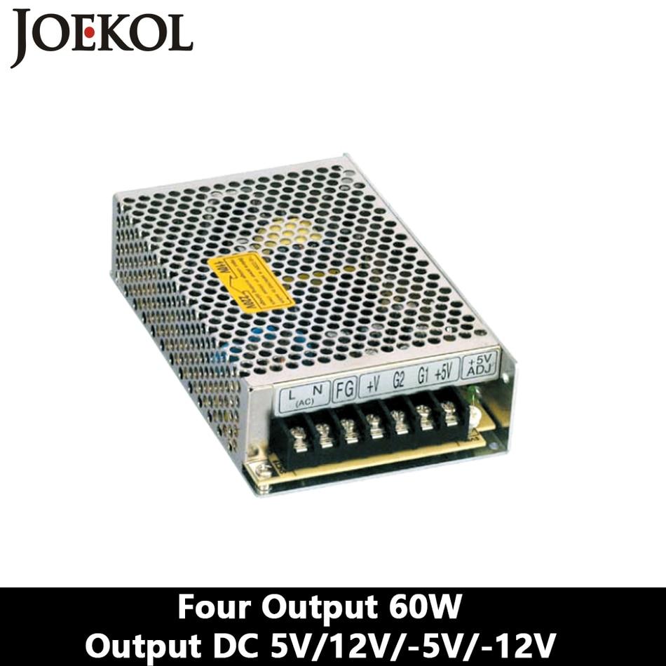 Four Output Switching Power Supply 60W 5V 12V -5V -12V,Ac Dc Converter,110V/220V Transformer To DC 5V/12V/-5V/-12V 5pcs white case 90 240v 110 220v ac to 12v step down dc converter led switching power supply module 5w 450ma