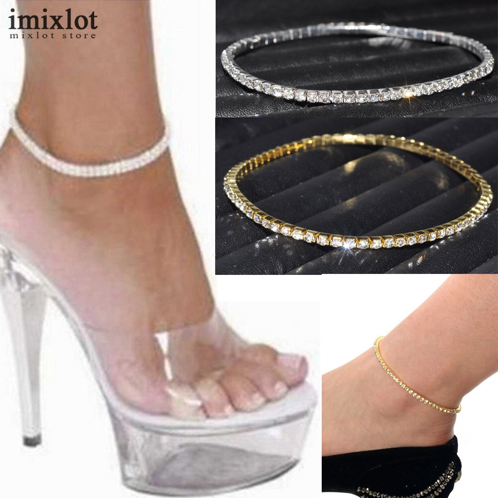 One Row Clear Crystal Tennis Silver Gold Stretch Anklet