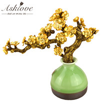 Feng Shui Bonsai Lucky Ornaments Plum Blossom Rich Tree 24K Gold Foil Ornament Potted Plants Crafts Office Home Room Decor Gifts(China)