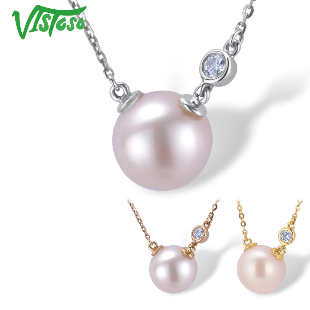 VISTOSO Gold Necklace For Women Genuine 14K 585 Rose White Yellow Gold Fresh Water White Pearl