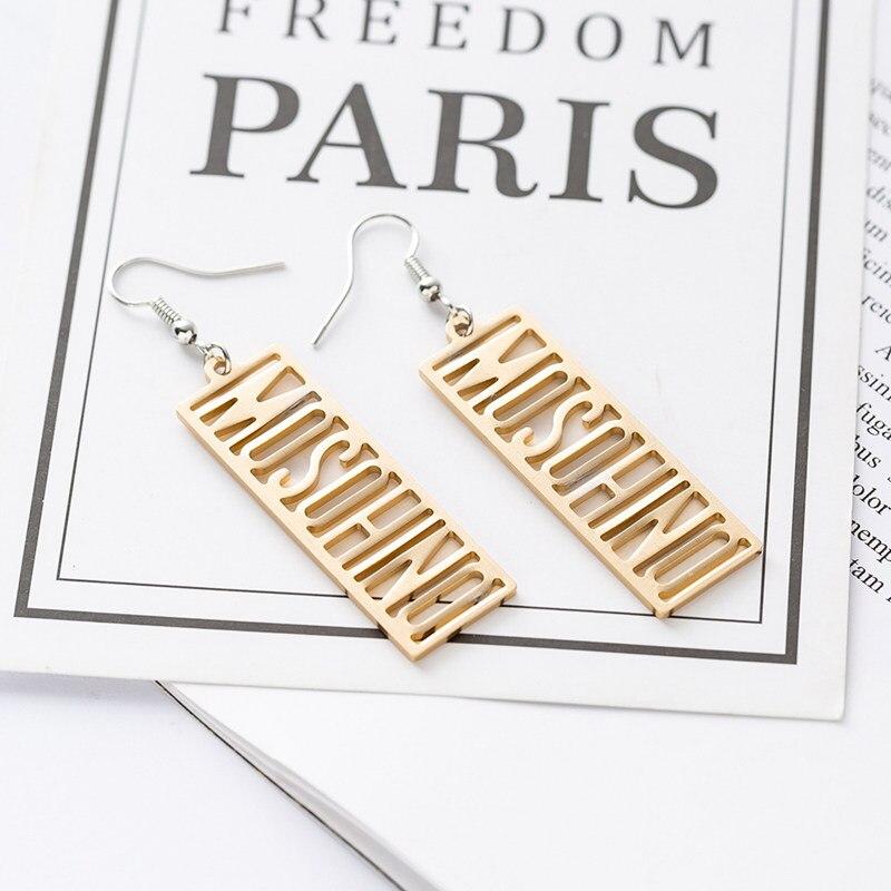 Suteyi Fashion Letter Word Earrings Rectangle Alloy Metal Shape Drop Earrings For