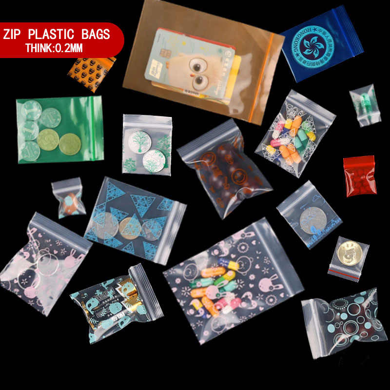 Mini Plastic Zipper Bag Zip lock Bag Ziplock Pill Packaging Pouches Mini Zip lock Bags Plastic Packaging Bags 100pcs/lot