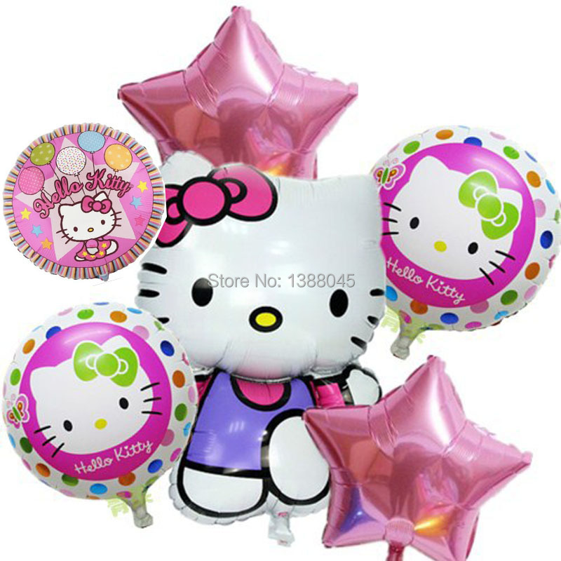6pcs/lot Mix Hello Kitty Balloons Cartoon Globos Pink Star Aluminium Foil Balloo