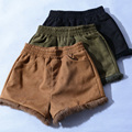 SETWIGG Winter Womens Suede Leather Shorts Elastic Waist Pockets Fur Cuff Warm Autumn Short Trousers Camel/Army Green