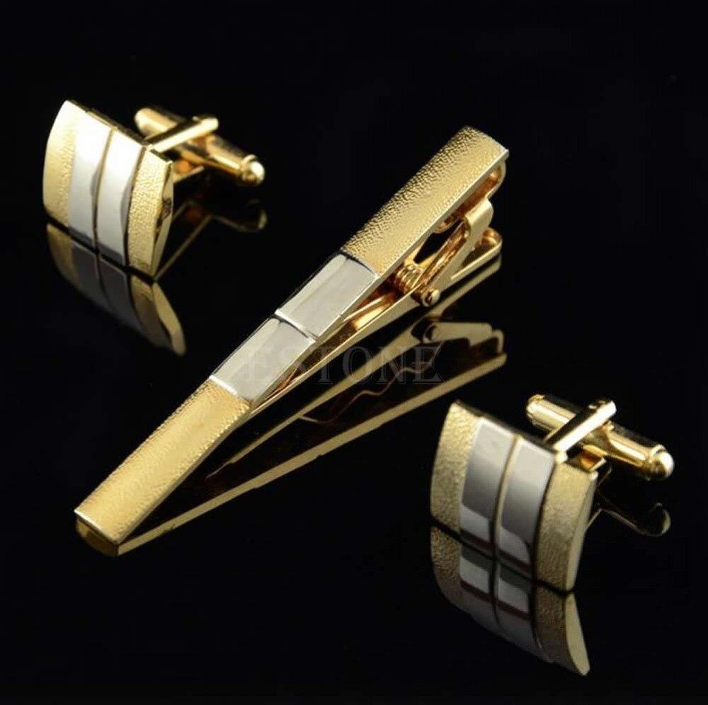 Men Metal Necktie Tie Bar Clasp Clip Cufflinks Sets Gold Simple Party Gift