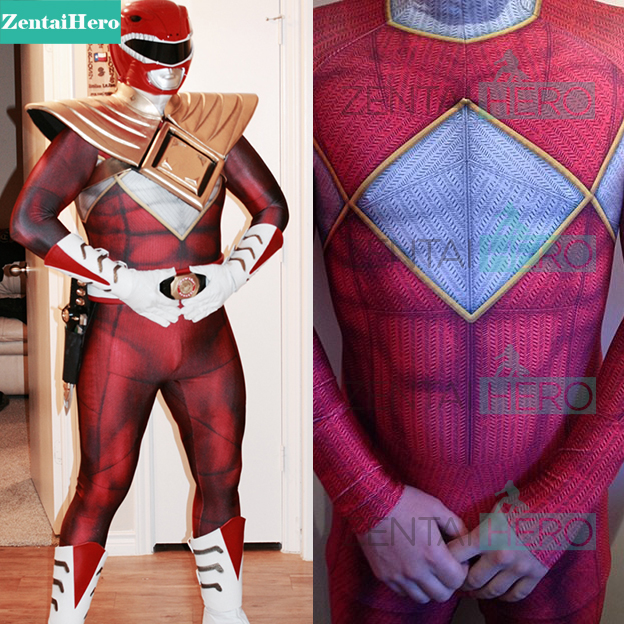 High Quality 3D Kyoryu Sentai Zyuranger Ranger Cosplay Costume Red Black Blue Pink Green White Yellow