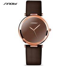 Sinobi moda preto das mulheres relógios de pulso pulseira de couro marca de luxo simples senhoras genebra relógio de quartzo presentes femininos 2017 f48