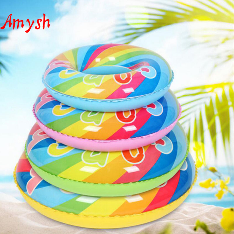 Amysh 70-90CM Inflatable rainbow Swimming buoy Float Pool Float Swan Tube Raft Kid Swimming Ring Summer Water inflatable toys