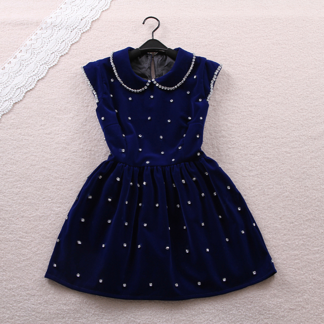 Free shipping 2014 winter sweet small butterfly sleeve peter pan collar high waist dress one-piece dress High quality