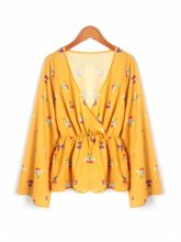 ZOGAA 2019 Spring and Autumn V collar long sleeve shirt female sense print bottom shirt floral blouse women tops