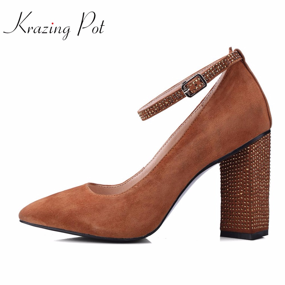 KRAZING POT recommed sheep suede plus size thick high heels women bling crystal heels pumps square toe wedding brand shoes L06 krazing pot cow suede diamond bling winter shoes solid zipper square thick high heels plus size fashion fashion ankle boots l12