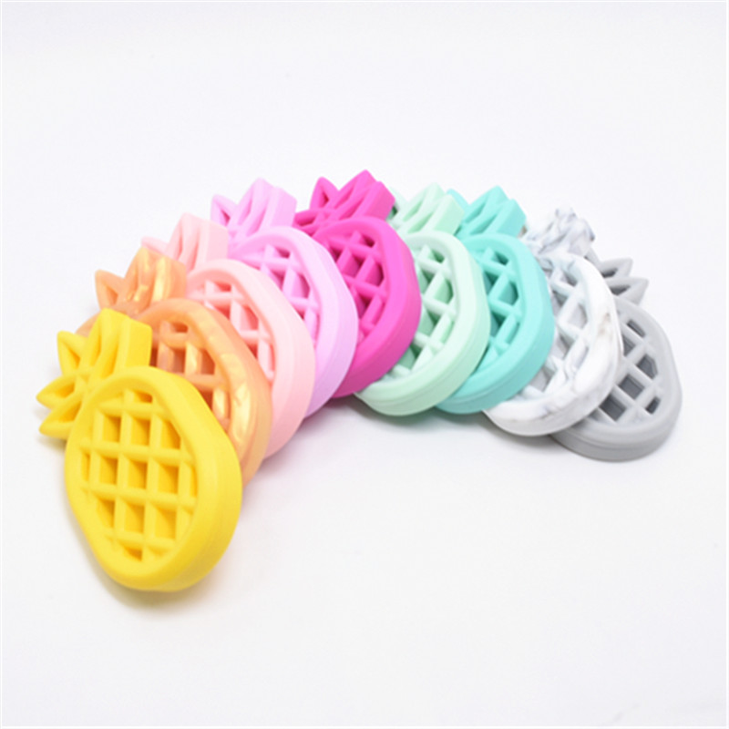 1 PC Silicone Pineapple Baby Teether Food Grade Pineapple Fashion Teethers DIY Nursing Teething Pacifier Clips Baby Toys