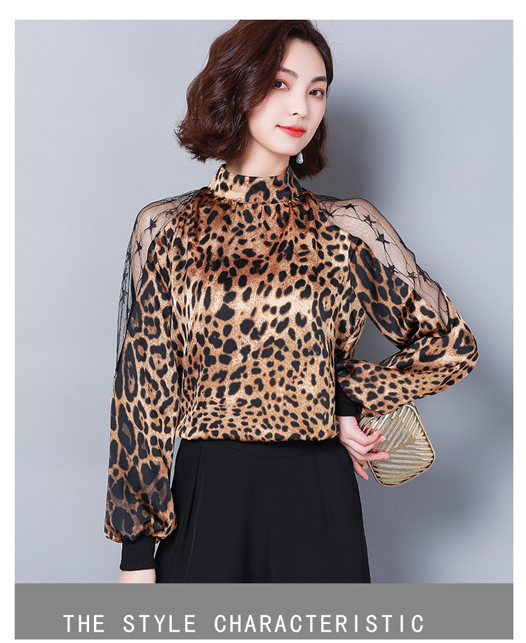 HTB1oCtGbpzsK1Rjy1Xbq6xOaFXaV - Fashion womens tops and blouses sexy lace off shoulder top Leopard print chiffon blouse shirt long sleeve women shirts 2656 50
