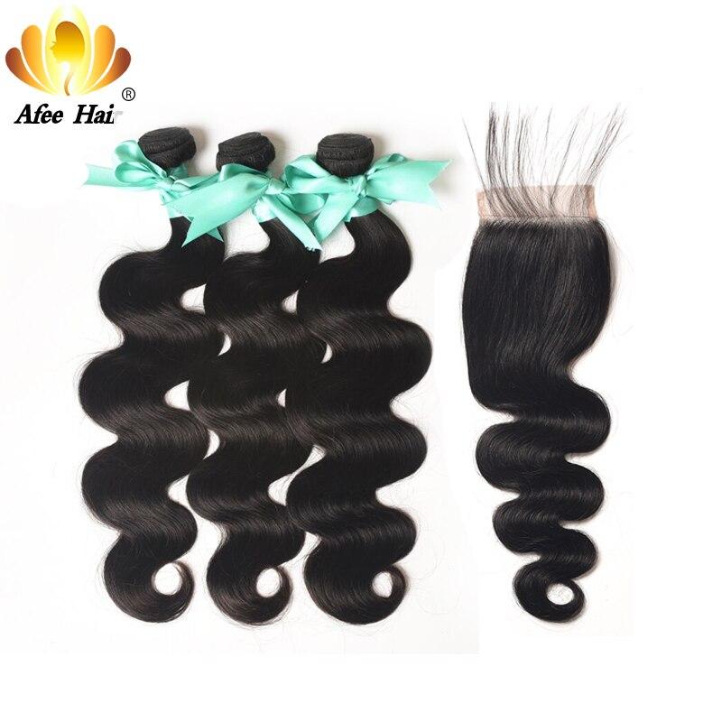 Aliafee Cheveux Malaisiens Vague de Corps Bundles Avec Fermeture 100% de Cheveux Humains Faisceaux de Cheveux Malaisiens Avec Fermeture Non Remy Cheveux Armure