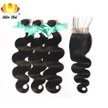 Aliafee Hair Μαλαισιανό σώμα σώματος 3 δέσμες διαπραγμάτευσης 100% ανθρώπινη μαλλιά Επέκταση Μαλαισιανές δέσμες μαλλιών με το κλείσιμο Deal Non Remy
