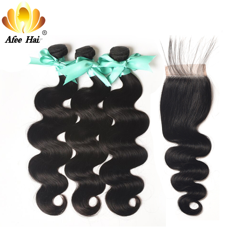 Aliafee Hair Malaysian Body Wave Bundles With Closure 100% Human Hair Malaysian Hair Bundles With Closure Non Remy Hair Weave