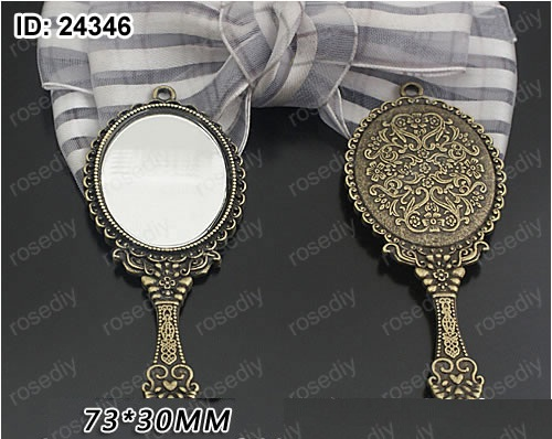 6pcs Ancient Bronze Silver Mirror Metal
