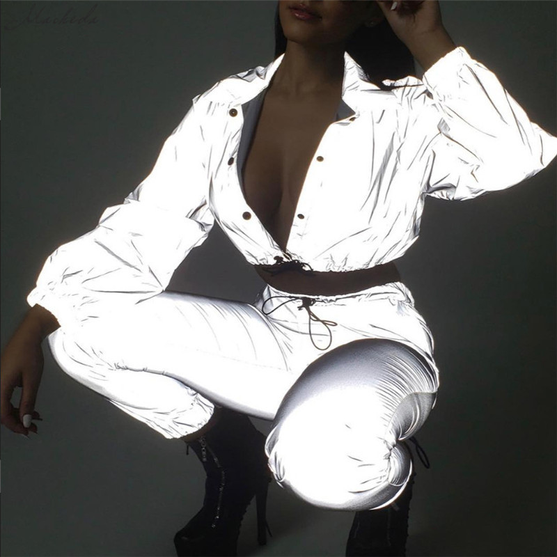 HTB1oCtUX0fvK1RjSspfq6zzXFXaP Macheda Fashion Women Reflective Turn-down Collar Buckle Drawstring Jackets Long Sleeve Cropped Coat Ladies Basic Jacket Ne'w