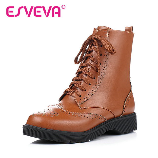 ESVEVA Cut Outs Women Lace Up Motorcycle Boots Thick Heel Fashion Boots Size 34-43