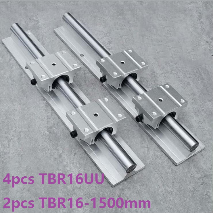 2pcs TBR16 -L 1500mm linear guide rail support + 4pcs TBR16UU blocks linear bearing blocks CNC router linear rail precise linear guide rail 1500mm aluminum linear guide rail