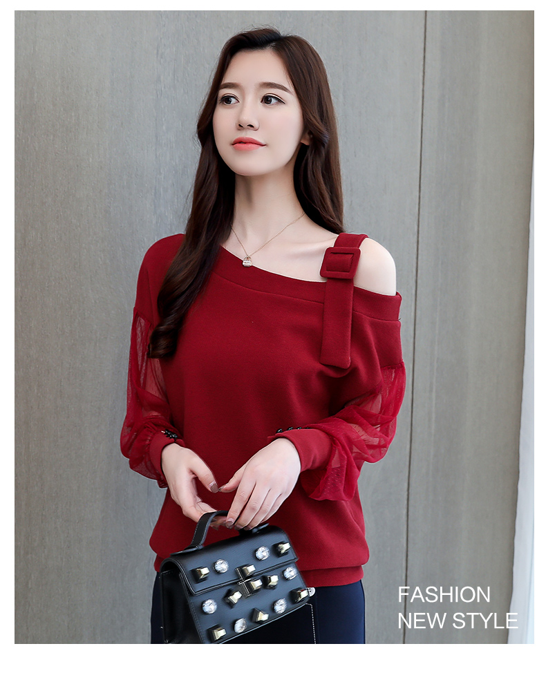 2019 Spring New Long Sleeve Shirt Women Fashion Woman Blouses Sexy Off Shoulder Top Solid Women Blouse Shirt Clothing Female (10)