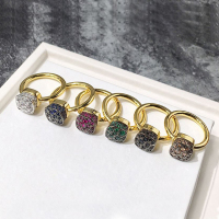 Classic Honeycomb Style Square Ring Green Yellow Purple Blue Black White 6 Color Crystal Rings For