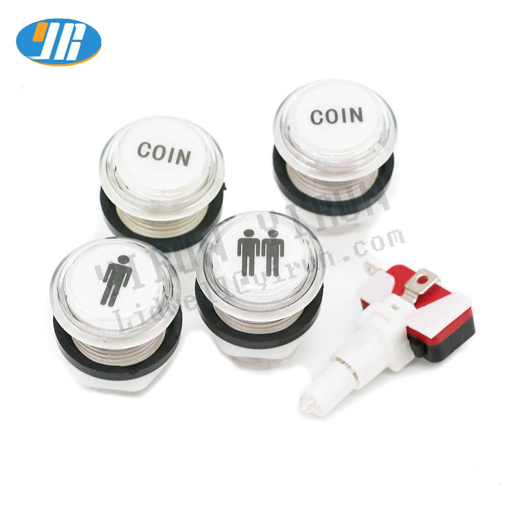 Arcade Joystick Parts illuminated Psuh Button With Microswitch 12v LED Blub COIN START SELECT CREDIT PAUSE EXIT TURBO PLAY L