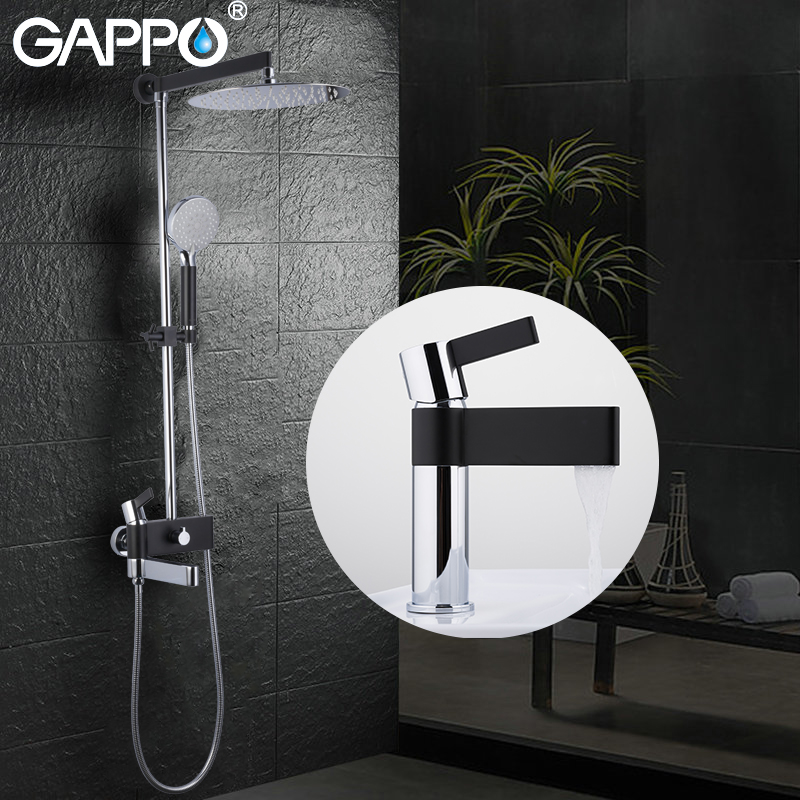 GAPPO Shower system brass water tap chrome and black bath faucet mixer shower set with basin faucet bathroom shower system rovate multi function bathroom shower panel tower system with water temperature display 304 stainless steel black and chrome