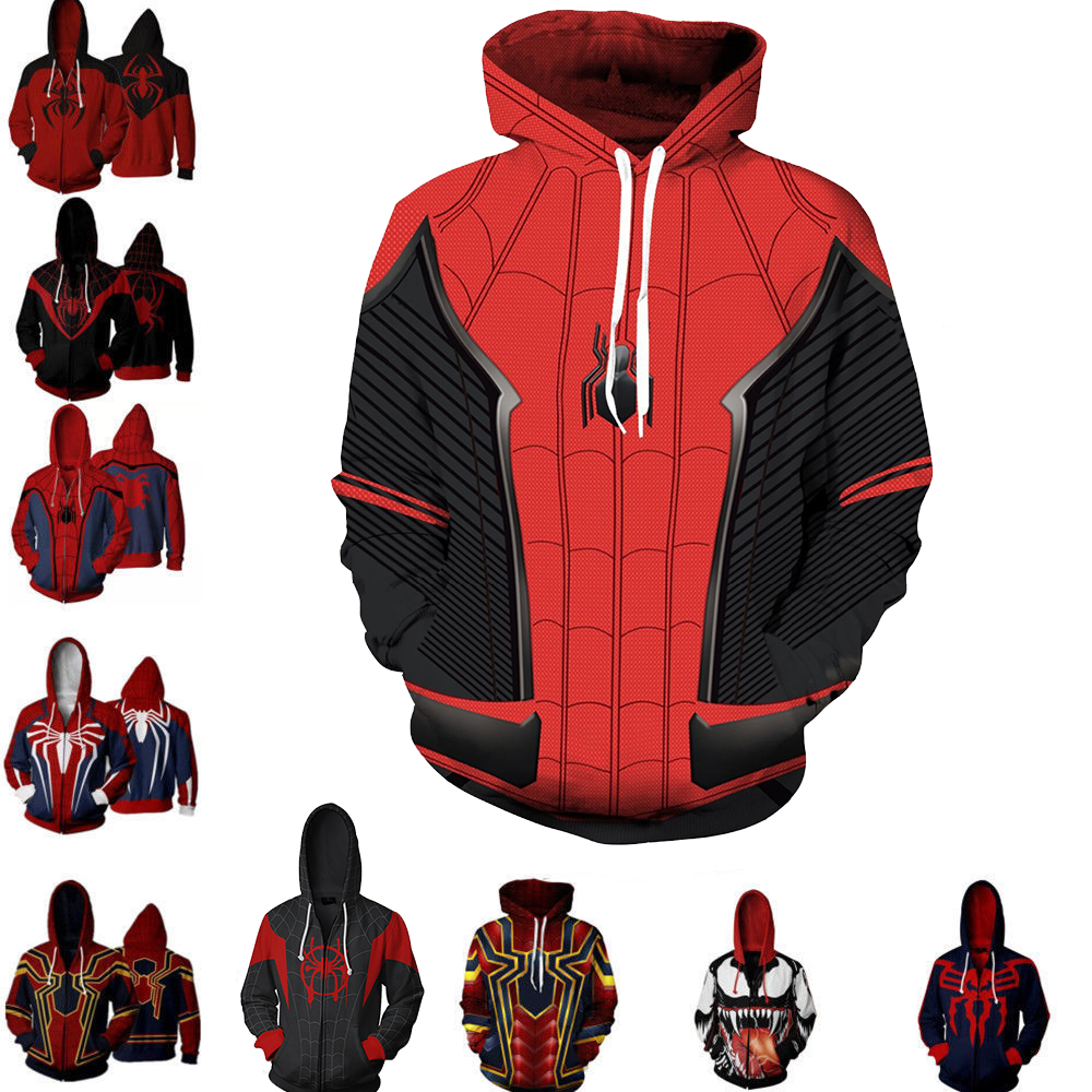 3D Printed The Iron Man Spider Costume Hoodies Men Superhero Spider Verse Hooded Cosplay Sweatshirts Casual Tops