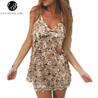 Deep V Neck Gold Sequined Backless Sexy Dress Women Off Shoulder Mini Dress Robe Christmas Party