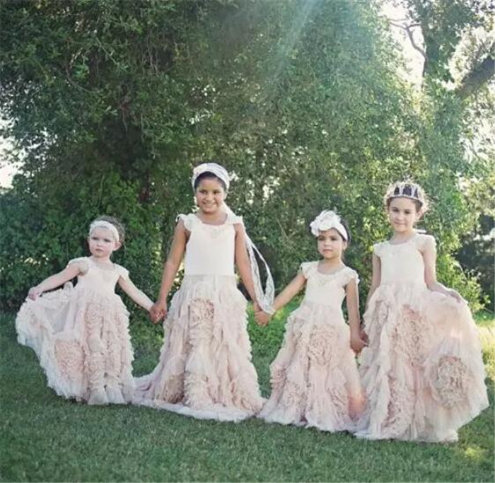 Pink Ruffled Flower Girls Dresses for Wedding Jewel Sleeveless Custom Made Girls Pageant Gown jenni new pink solid ruffled chemise l $39 5 dbfl