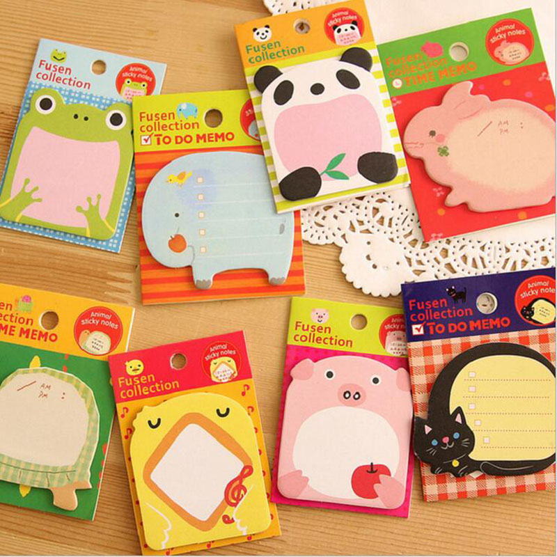 4pcs Creative Stationery Forest Animal Series Cute Paper Memo Pad / Sticker Post Sticky Notes Notepad School Office Supplies