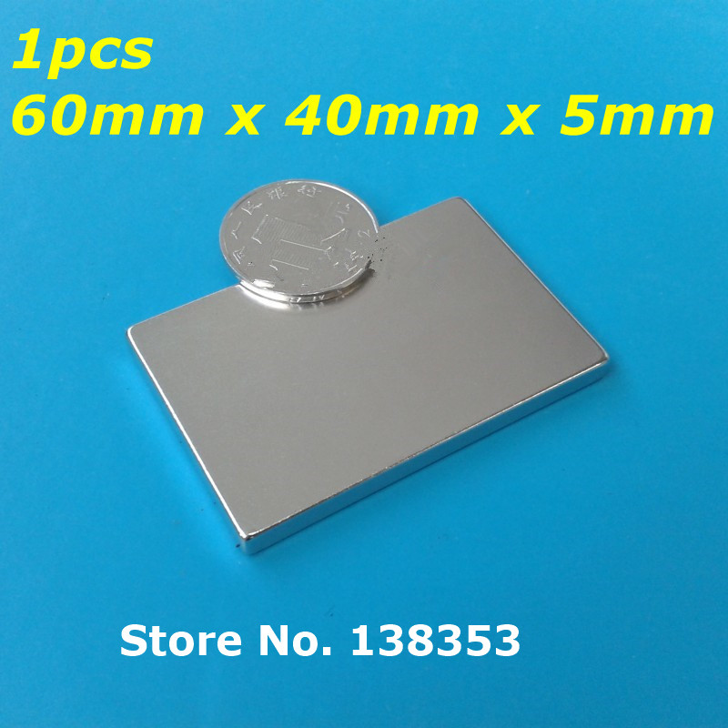1pcs Bulk Super Strong Neodymium Rectangle Block Magnets 60mm x 40mm x 5mm N35 Rare Earth NdFeB Rectangular Cuboid Magnet