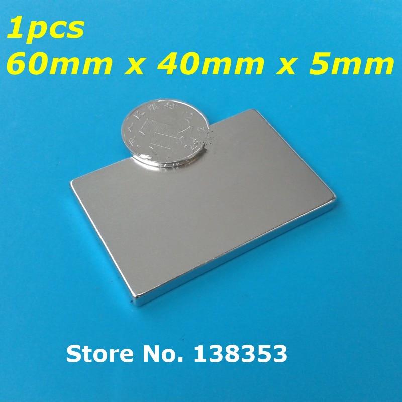 1pcs Bulk Super Strong Neodymium Rectangle Block Magnets 60mm x 40mm x 5mm N35 Rare Earth NdFeB Rectangular Cuboid Magnet strong 1 2 1 5 1 8