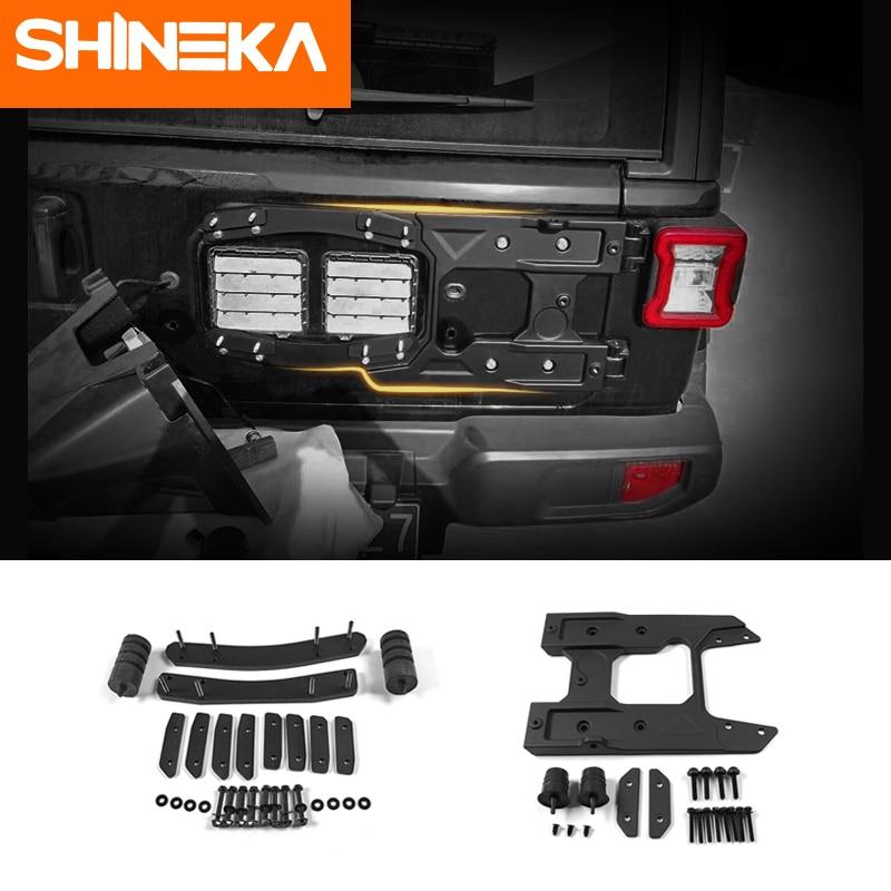 SHINEKA Kit de montage de pneu de secours pour Jeep Wrangler JL surdimensionné support de pneu de secours hayon renfort