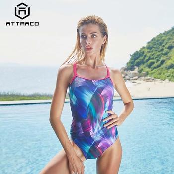 Attraco Ein Stück Frauen Sport Bademode Sport Badeanzug Aquarell Druck Monokini Bikini Sommer Beachwear-badeanzug Backless