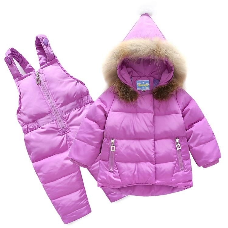 6 colours baby clothes sets duck down kids girls Jacket + pants suit Raccoon Fur Infant clothes for boys children clothing girls