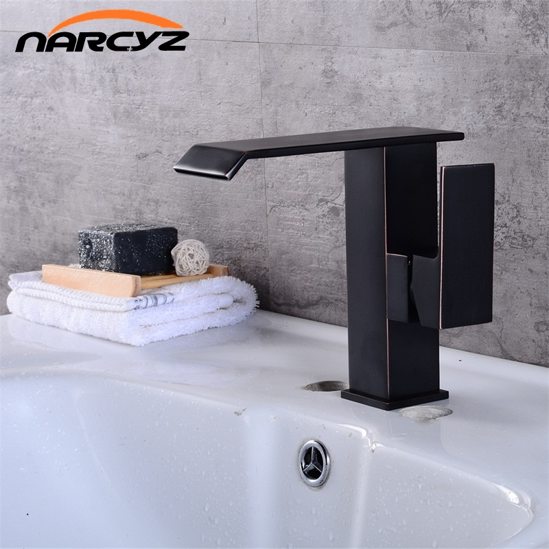 Free Shipping Bathroom Faucet ORB brass basin faucet bathroom water faucet basin mixer black crane water tap B506 free shipping brass copper basin faucet basin mixer bamboo faucet bathroom tap