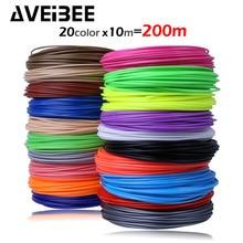 AVEIBEE 10m x 5/10/20 color 3D Printing Material Pen Filament ABS 1.75mm Plastic Refill For 3 D Impresora Drawing Printer