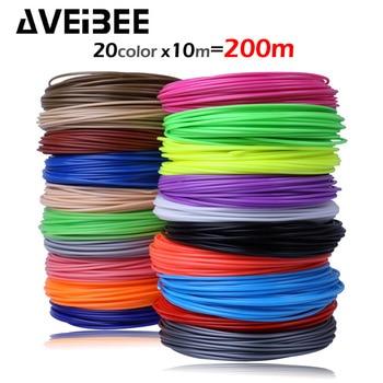 AVEIBEE 10m x 5/10/20 color 3D Printing Material 3D Pen Filament ABS 1.75mm Plastic Refill For 3 D Impresora Drawing Printer Pen