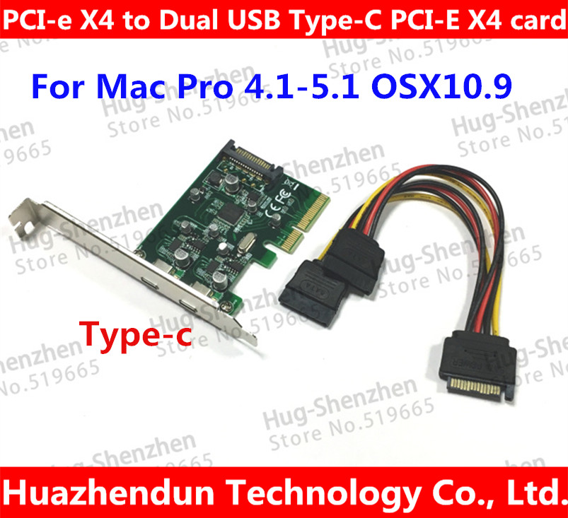 PCI-e X4 to Dual USB Type-C PCI-E X4 Expression Card For Mac Pro 4.1-5.1 , OSX10.9 or later кабель питания 20 shippment mac pro g5 mac 6pin 2 pci e 6pin 4500 gtx285 hd4870 hd5770 gtx285