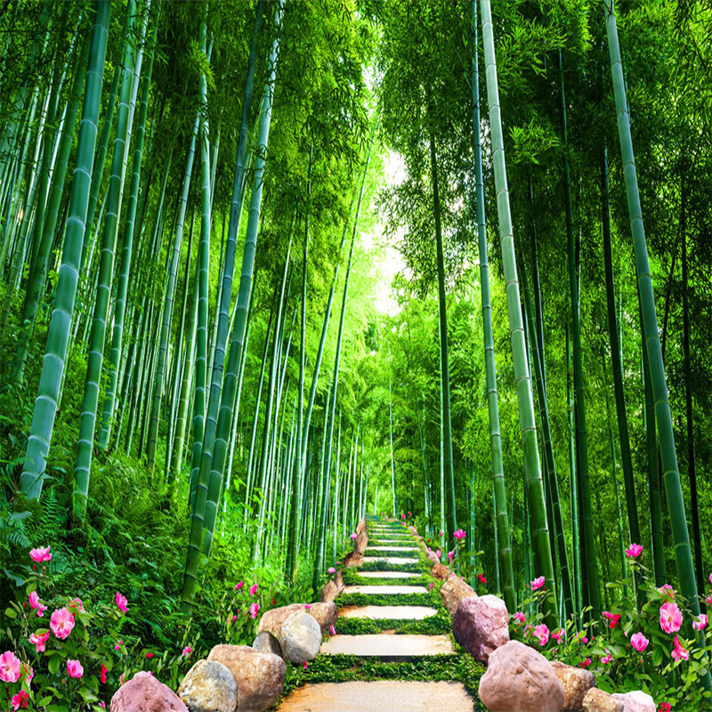 Us 8 82 43 Off Custom Photo Wall Mural Wallpaper Bamboo Forest Stone Road 3d Stereo Living Room Sofa Tv Backdrop Home Decor Wallpaper For Walls In