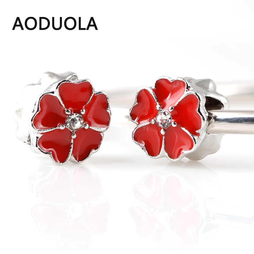 10 Pcs a Lot Copper Flower Beads Red Enamel Heart Flower Silver Plated DIY  Metal Bead 9a5e82442d91