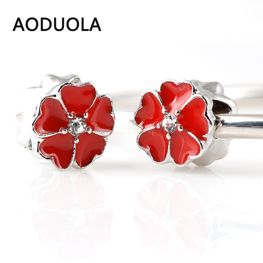 10 Pcs a Lot Copper Flower Beads Red Enamel Heart Flower Silver Plated DIY Metal Bead Charm Fit For Pandora Charms Bracelet