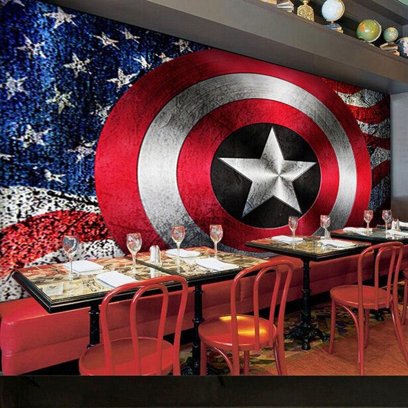 Self adhesive Non woven Wallpaper Captain America Avengers Large ...