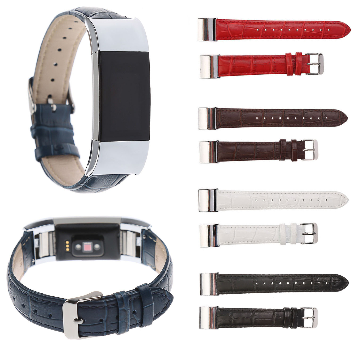 Luxury Crocodile Pattern Band for Charge2 Bracelet Genuine Leather Strap Replacement Wristbands For Fitbit Charge 2 Watch Belt