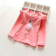 Round neck child T-shirt sweet pleated lace collar 100% cotton long-sleeve basic T-shirt