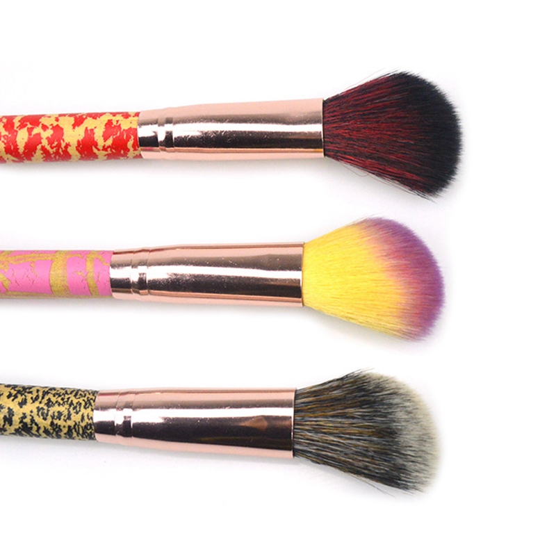 3 colors Beginners Use Makeup Brushes Synthetic Hair Rainbow Wooden Crack Handle Powder Blusher Slanted head Brushes