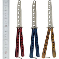Faca de dobramento de aço inoxidável para balisong trainer treinamento prática estilo borboleta lâmina maçante faca|Facas| |  -